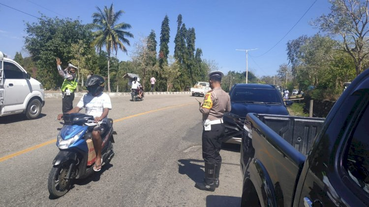Sat Lantas Polres TTU Patroli rutin dan berikan himbauan Kamsetibcarlantas