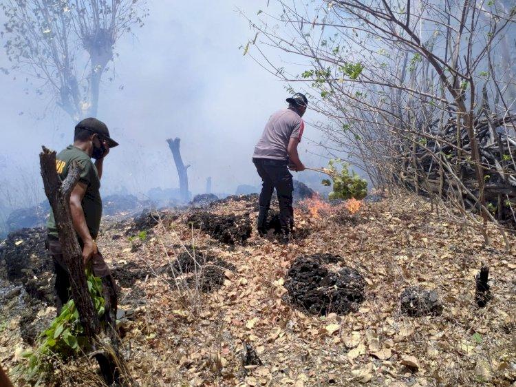 Anggota Polsubsektor Manamas Bantu padamkan Sijago Merah yang menyambar lahan warga