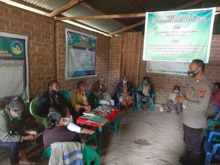 Kunjungi Kelompok Tani Tafentob, Bhabinkamtibmas ingatkan Agar Patuhi Protokol Kesehatan
